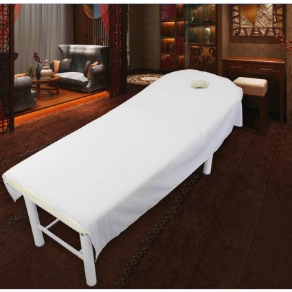 TDPRO White Comfort Velvet Table Cover Bed Sheet Flat Fitted Sheet Bedding