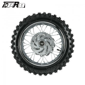 TDPRO 12 inch Rear Wheel 80/100-12 Tire 3.00-12 w/ Rim & Disc Rotor Sprocket for CRF50