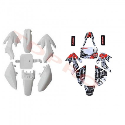 White Plastics Fender Graphic Sticker Kit f CRF50 XR50 SSR SDG 107 125 Dirt Bike