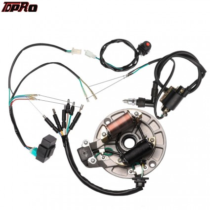 TFPRO For Pitbike CDI Coil Stator Magneto Plug Wire Harmess Kill Switch Spark Plug Fits Scooter 50cc 110cc 125cc Moped GY6 Bike
