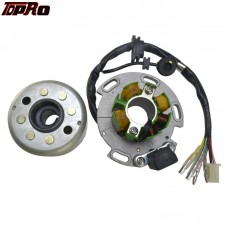 TDPRO 8 Magneto Stator Coil Plate + Flywheel Roller Fits Lifan 125cc 140cc 150cc 160cc For Motorcycle Racing Dirt Bike Pitbike
