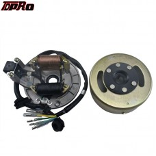 TDPRO 2 Pole Magneto Stator + Flywheel GY6 125cc 110cc Quad Dirt Scooter Bike ATV Buggy