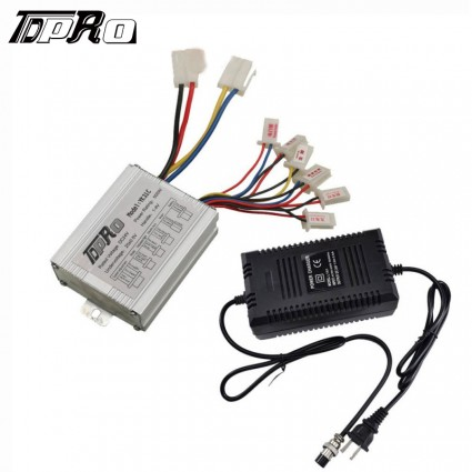 24V 500W Motor Brush Speed Controller + Charger Electric Bike ATV Scooter QUAD