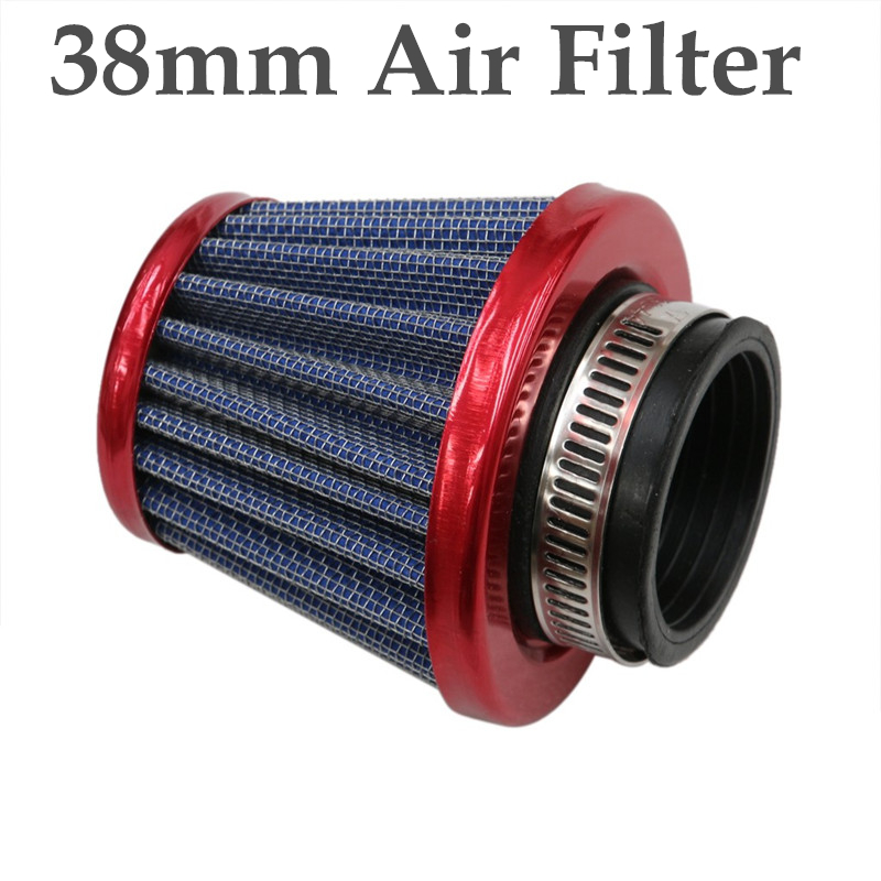 TC-Motor Red Black Foam 38mm Air Filter Cleaner For 50cc 70cc 90cc 110cc 125cc Dirt Pit Bike ATV Quad Monkey Bike Motocross Motorcycle Go Kart Cart And GY6 50cc QMB139 Engine Scooter Moped