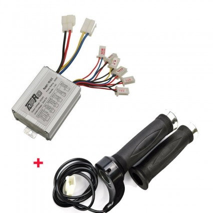 DC24V 500w 1x Motor Brush Controller + 1x Throttle Grip For Electric Scooter