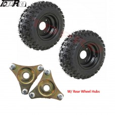 2pcs 4.10-6 Go Kart ATV Rear Tire on Rim Wheel Hubs Scooter QUAD Bike Snowblower