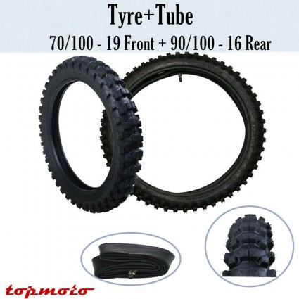 70/100-19 90/100-16 Front Rear Tire Tyre with Tube For KX100/CRF150F/R CR SX85 KX
