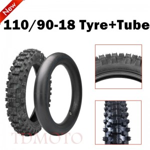 TDPRO Rear 110/90-18 110 / 90 - 18 Tire Tyre with inner Tube for Motorcycle Dirt Pit Bike Motocross Trail