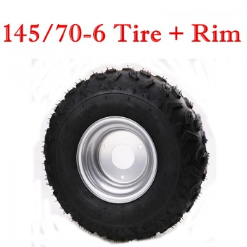 TDPRO 145/70-6 Wheel Rim + Tire 50cc 110cc Quad ATV Buggy Tyre UTV Lawn Mower