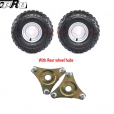 Pair 145/70-6 Tire Rim Wheel + Rear Hubs for Taotao ATV 110B Golf Cart 4 Wheeler