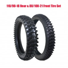 TDPRO 110/90-18 Rear Tire +80/100-21 Front Knobby Tire Tube For Pit Dirt Bike