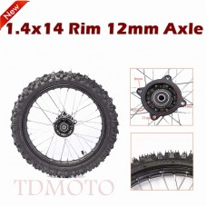 "TDPRO 12mm Axle 60/100- 14"" Inch Front Wheel Rim Knobby Tire PIT PRO Dirt Bike 1.4x14"