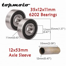 TDPRO 6202 RS Bearings & 12x53mm Spacer Bush Sleeve for 15mm to 12mm Axle Front Wheels