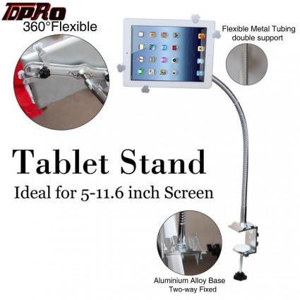 TDPRO Universal Gooseneck 360 Lazy Bed Desk Tablet Stand Holder Mount For iPad Tablets